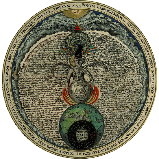 Rappresentazione alchemica dell'occhio umano (Heinrich Kuhnrath - Amphitheatrum sapientiae aeterna, 1602)