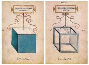 Il cubo (disegni di Leonardo per Luca Pacioli)
