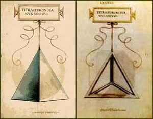 Il tetraedro (disegni di Leonardo per Luca Pacioli, 1497)