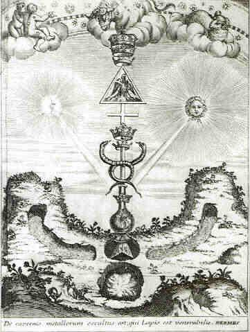 Geroglifico mercuriale e caduceo (Limojon de Saint Didier, Le triomphe hermétique, 1710)