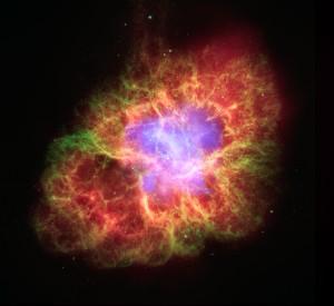 Stella superdensa di neutroni rilascia particelle ad altissima energia nella zona della Crab Nebula (credits: NASA/JPL-Caltech/ESA/CXC/Univ. of Ariz./Univ. of Szeged)